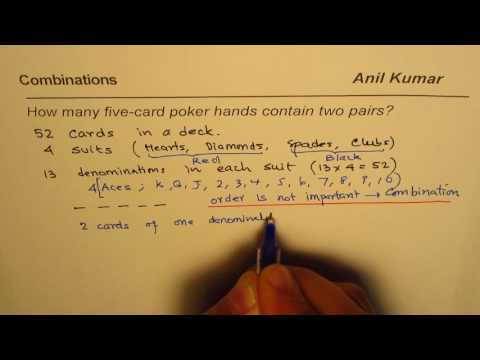 How many 5 card poker games will have 2 pairs find probability