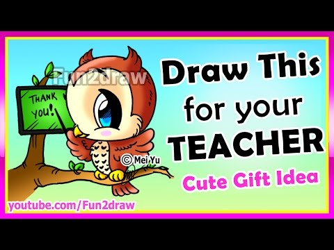 Draw perfect teacher's gift easy ❤ how to draw an owl teaching ❤ surprise your teacher! - fun2draw
