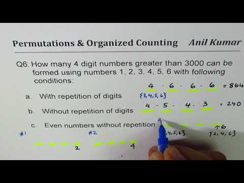 Q6 how many 4 digit numbers can be formed with different conditions