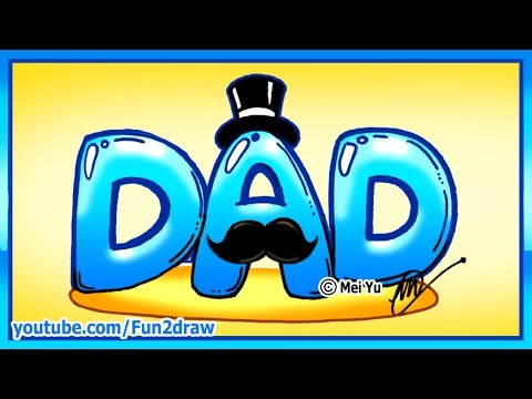 How to draw perfect father's day gift - dad with mustache tophat - fun2draw | online art courses