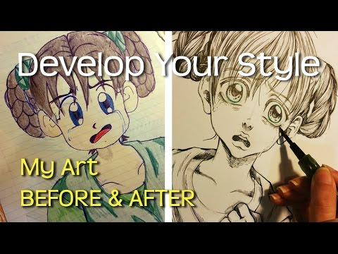 ❤how to develop your own drawing style ❤ my art before and after ❤