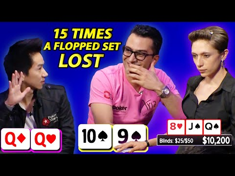 Flopping a set & losing!!! top 15 hands | poker bad beats & coolers