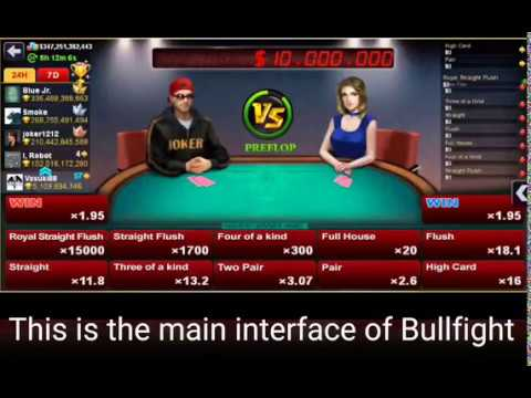 Gameplay video on how to play and win in dh texas poker bullfight