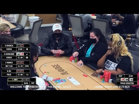 With 5 players seeing the turn, lorraine drills the gutshot straight!