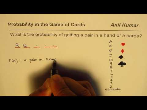 Find probability of a pair in poker hand of 5 cards