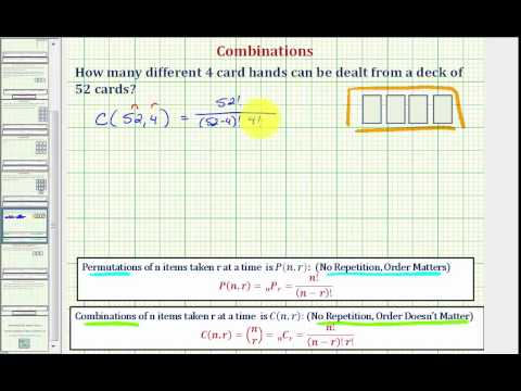 Ex: determine the number of 4 card hands from 52 cards (combination)