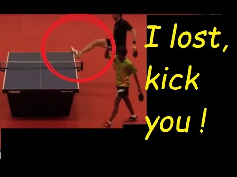 [tt umpire] case study: player kicks table after losing the match(沒膽踢人, 踢桌子)