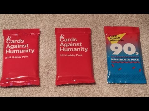 Cards against humanity - 2012 holiday, 2013 holiday, & 90s nostalgia pack unboxing